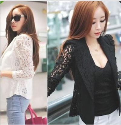 991b6a397c4 Qoo10 - Female Lace Cardigan Jacket Blazer M to XXL Good Quality ...