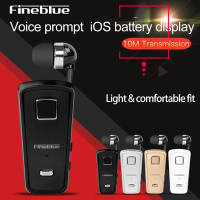 Original FineBlue F980 Retractable Wireless Bluetooth Earphones Handsfree Headset Stereo Headphone
