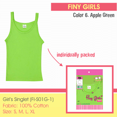 Qoo10 - Finy Girls - Singlet Anak Perempuan - Apple Green - 1 Pcs ... 873e934ddb