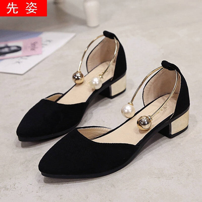 d12a69cb284 Qoo10 - First Sandals female 2017 summer Block Heel Pointed⚐Toe Sequins  Pearl ...   Men s Bags   Sho.