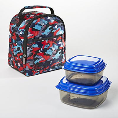 e752ce2a078c Fit Fresh Aiden Insulated Lunch Bag with Reusable Container Set (Red Jungle  Camo)