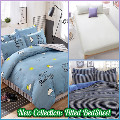 Fitted Bedding Sets/Bed Sheet/Pillowcase / Premium Cotton Bedsheet Single /  Queen