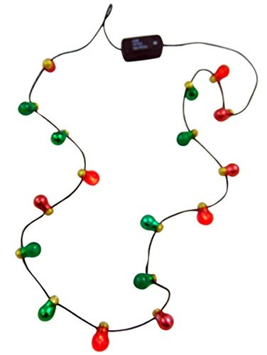 Christmas Light Necklace.Flashing Retro Christmas Light Bulb Necklace Holiday Party Wear
