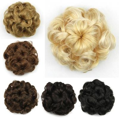Flower Chignon Synthetic Hair Buns Hairpieces Fake Clip In Bun