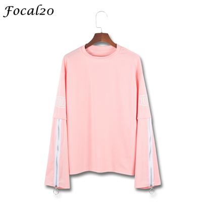 001b41ab216f4 Focal20 Streetwear Ring Zipper Women Oversize T-shirt Spring Long Sleeve  Letter Print Hip Hop
