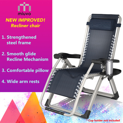 Foldable Recliner Chair / Reclining Bed Chair / Outdoor Chair / Adj.  Recline Position /