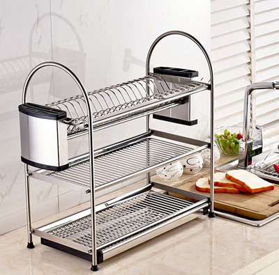 Food Grade SUS304 Stainless Steel Dish Rack Shelf Kitchen Drainer Tray  Drying Organize