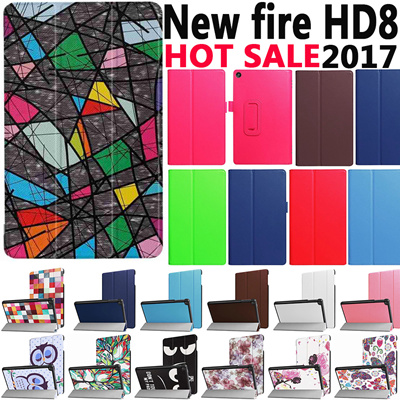 For Kindle Fire HD 8 2018 10 2017 Case Bracket Stand PU Cover for Amazon  Kindle New Fire HD8 2017