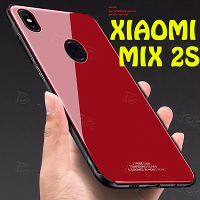 new concept 1fddd 3a794 For Xiaomi Mi Mix 2s Case Luxury Tempered Glass Back Phone Cover Hybrid  Shockproof Sleeve Hard House