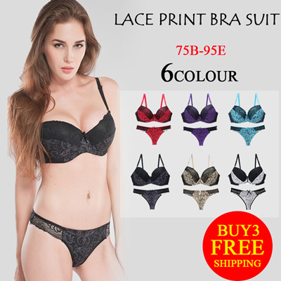 8e6fc155307 Qoo10 - Foreign trade supply sexy bra set lace print color matching  underwear ...   Underwear   Sock.