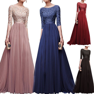 b8a4281fc06d8 Formal Elegant Women Dresses Lace Wedding Party Dinner Maxi Dress