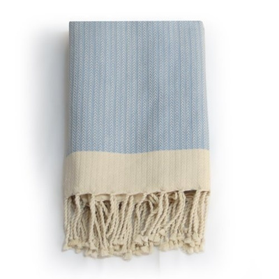 Qoo10 Fouta Towel French Linen Chevron Ice Blue Beach Turkish Bath