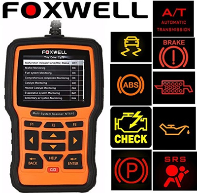 (FOXWELL) Foxwell NT510 Scanner for JEEP Cherokee OBD2 Diagnostic Scan Tool  Check Engine Light, O