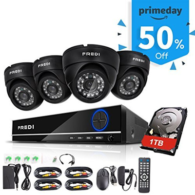 (FREDI) FREDI 4CH Security Camera System Full 960H DVR with 4x 800TVL  Superior Night Vision IR Cu