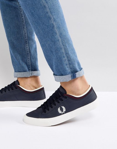 Qoo10 - FredPerry Kendrick Tipped Cuff Leather Sneakers In Navy   Shoes 8fac2ab90f6e6