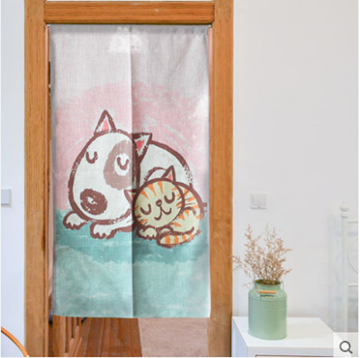 [Free curtain rod] Cats and dogs cotton cloth door curtain & Qoo10 - [Free curtain rod] Cats and dogs cotton cloth door curtain ...