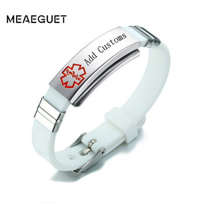 Free Engraving Laser Silicone Medical Alert ID Bracelet Adjustable Length  Personal Info Curved Tag