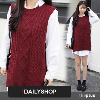 Qoo10 Free Shipping Dailyshop Twist Pattern Knit Vest Long