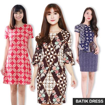 Free Shipping Dress Batik Modern Gaun Batik Terusan Batik Wanita Bigsize