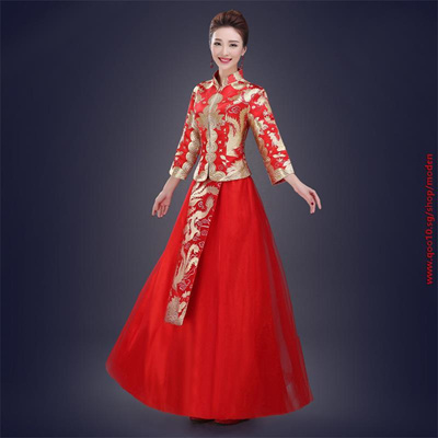 qoo10 free shipping new arrival chinese new year costume red evening dresses women s clothing. Black Bedroom Furniture Sets. Home Design Ideas