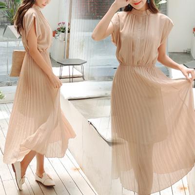 44df27169076d 【Free Shipping】 Pleated Chiffon Dress ■ Spring / Summer Ladies Pleated  Skirt Maxi One Piece Sleeveless Short Sleeve Chiffon Maxi Length Cool ...