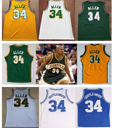 new style 688e3 e4436 Free Shipping Seattle Supersonics #34 Ray Allen Jersey Retro Throwback  Vintage Basketball Jerseys Gr