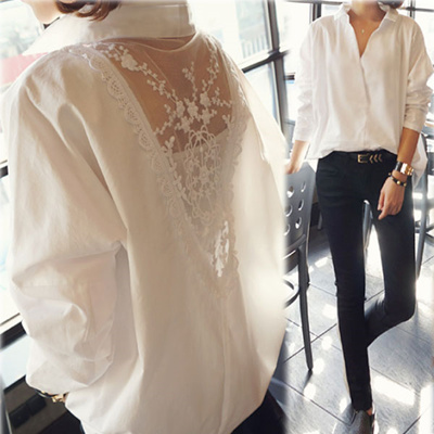 31b790efa12 【Free Shipping】 Sexy back ♪ Healthy shirt ☆ back lace scattering blouse ☆ 【