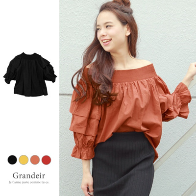 01c9e05eb825f  Free Shipping  Show skin to girly ◇ Off-shoulder volume frill sleeve blouse