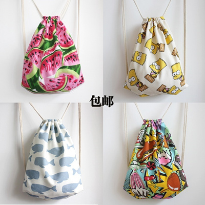Free shipping small fresh floral mini shoulder bag drawstring pouch bag  cotton canvas backpack Sen- 0fc1d6d79afe5