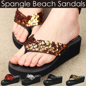 11c50927e5 ★ 【Free Shipping】 Straps given sequins are glittering and fashionable ♪ 4  Color Ladies' Sandals Glittering T Straps Thick Bottom Beach Sandals ...