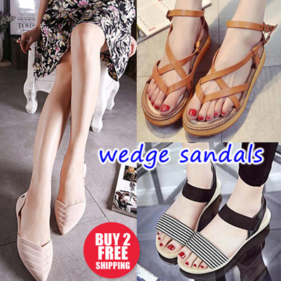 5656355ed259 Wedge Sandals Heels Korea style slipper flats design sg Slimming Shoes☆Women  shoes sandals Loafers