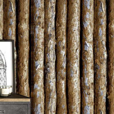 Friends Blue 3d Chinese Wood Like Wallpaper Bark Tree Trunk Tree Erect Coffee Colored Dining Room Ba