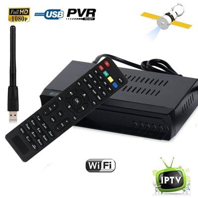 FTA DVB S2 HD Digital Satellite IPTV Combo TV BOX Receiver IKS WIFI Dongle