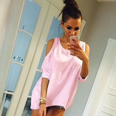 a64502eb88182 Fuaie® Womens Off Shoulder Loose Casual T Shirt Long Tee Tops Blouse Ladies  Cold Shoulder