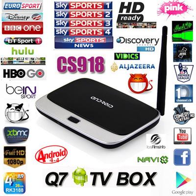 Fully loaded CS918 Q7 RK3188 Quad Core Android 4 4 Smart TV Box 1080P 2GB  RAM Free Live TV + Remote Control