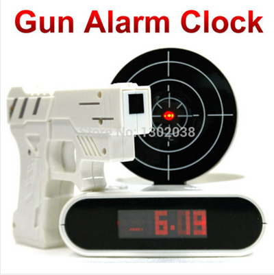 Qoo10 Funny Novelty Target Panel Shooting Game Lcd Gun Alarm Clock Gadget To Small Appliances