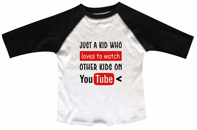 "90b92d9ae Qoo10 - Funny Threadz Boys Or Girls Baseball Tee Youtube Raglan ""Just A Kid  Wh... : Baby & Maternity"