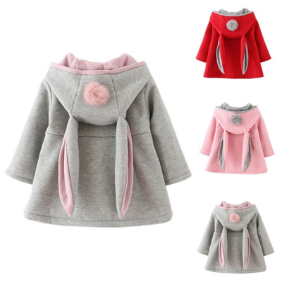 Gadis-gadis Lucu Kartun Kelinci Telinga Berkerudung Jaket Musim Gugur Musim Dingin Lengan Panjang Pakaian