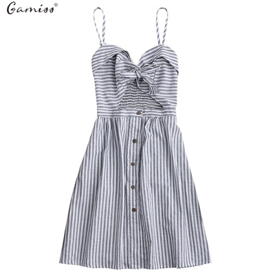 a755862141576 Qoo10 - Gamiss 2017 Striped Front Knot Tie Cutout Cami Dress Women ...