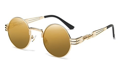 b3b62e0f22 GAMT Vintage Steampunk Round Sunglasses Circle Metal Frame Mirror Lens for  Men Gold-Brown
