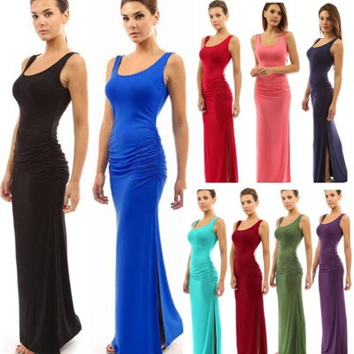 Gaun Seksi Wanita Lipit Pinggang Maxi Dress Tanpa Lengan U Leher Gaun Panjang Silm Fit Party Cocktail Dress