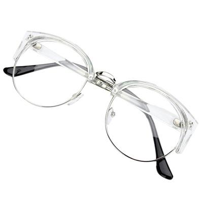 Gaya Retro Wanita Pria Kacamata Nerd Round Clear Lens Eyewear Kacamata  Bingkai Logam Warna  Transparan ea7ec16a17