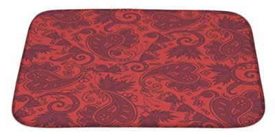 Qoo10 gear new paisley of red christmas colors bath rug mat no gear new paisley of red christmas colors bath rug mat no slip microfiber memory foam fandeluxe Gallery