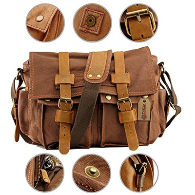 079c068cc9a0 Qoo10 - GEARONIC TM Mens Satchel Messenger Canvas Bag Vintage Shoulder  Leather...   Men s Bags   Sho.