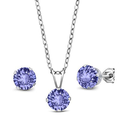 925 STERLING SILVER NECKLACE PENDANT /& EARRING SET W// 2 CT DIAMOND /& TANZANITE