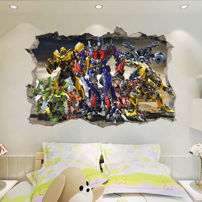Generic Transformer Autobots Break The Wall 3d Wall Stickers Vinyl Decal Kids Decor B724