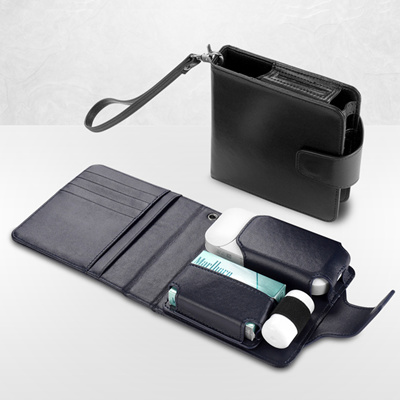 Genuine Leather All-In-One iQOS Case Holder Wallet