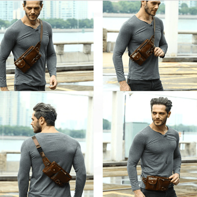 06ad50b4aa4 Genuine Leather Waist Packs Fanny Pack Belt Bag Phone Pouch Bags Travel  Waist Pack Male Small Waist