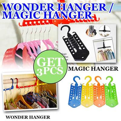GET 3 PCS Wonder hanger / Magic hanger gantungan baju pakaian multifungsi portabel COLORFULL