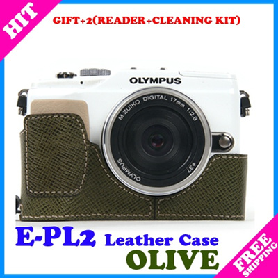 Qoo10 - ☆Gift+2☆OLYMPUS PEN E-PL2 EPL2 Camera Leather Half Cases+